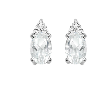 10K White Gold Color Ensembles Prong White Topaz Earrings 1/25CT