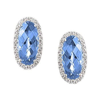 Aqua Blue Spinel Earrings-CE3828WAQ