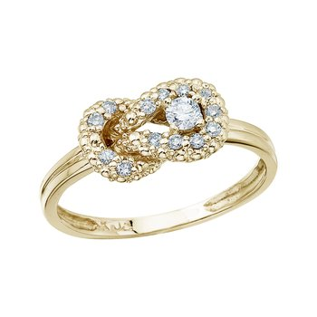 14K Yellow Gold Fashion Knot Diamond Ring