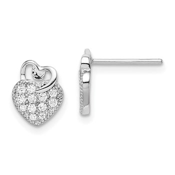 Sterling Silver Rhodium plated CZ Hearts Post Earrings