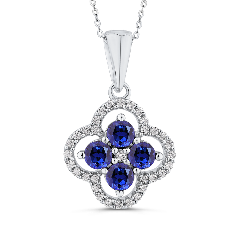 Essentials 10K White Gold Round 1/5 ct Diamond & 1 1/5 ct Blue Sapphire Fashion Pendant with Chain