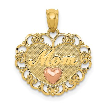 14k Two-tone MOM Heart Pendant