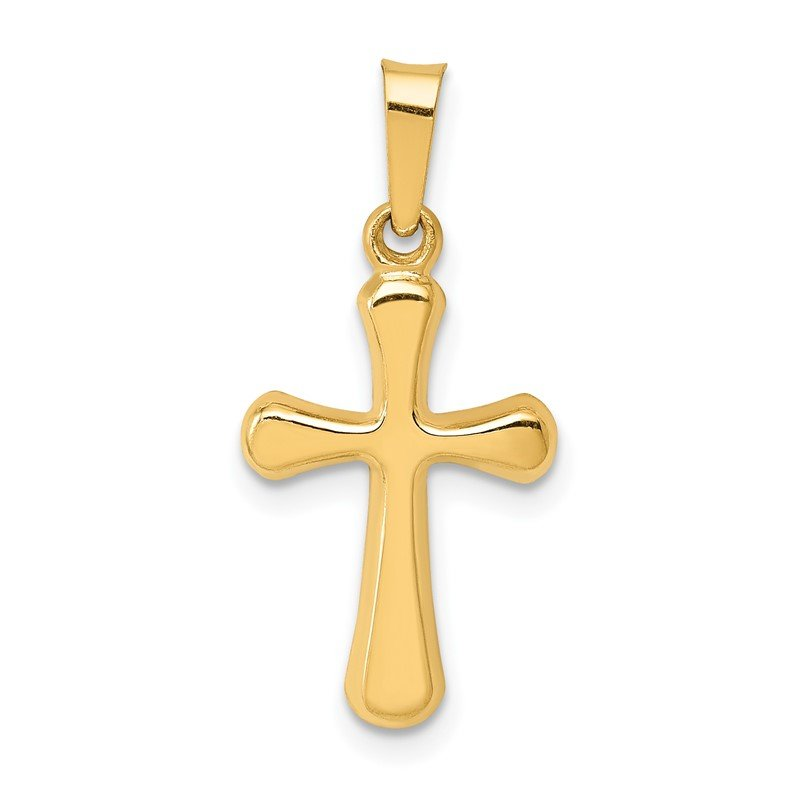 Quality Gold 14k Polished Rounded Cross Pendant