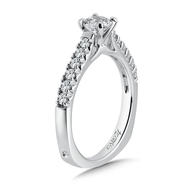 Caro74 Classic Elegance Collection Engagement Ring With Diamond Side Stones in 14K White Gold with Platinum Head (1/2ct. tw.)