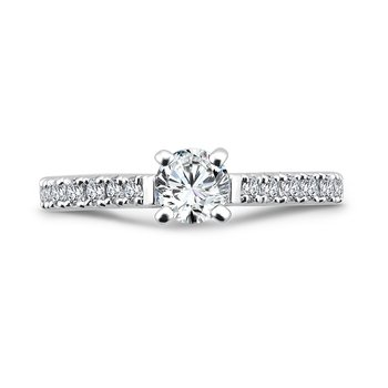 Classic Elegance Collection Engagement Ring With Diamond Side Stones in 14K White Gold with Platinum Head (1/2ct. tw.)