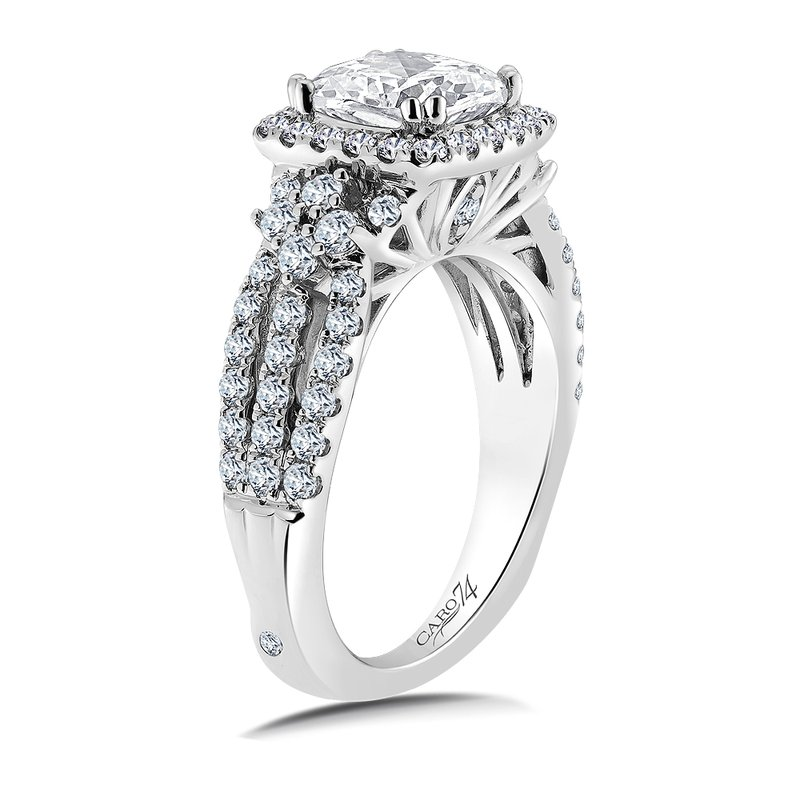 Caro74 Halo Engagement Ring Mounting in 14K White Gold with Platinum Head (.89 ct. tw.)