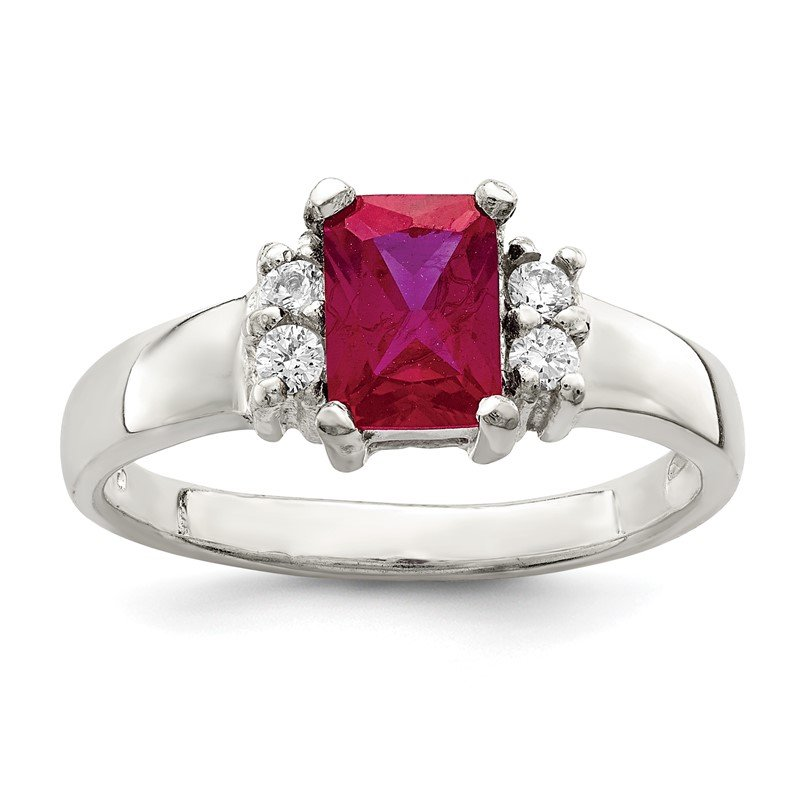 Quality Gold Sterling Silver Red & White CZ Ring