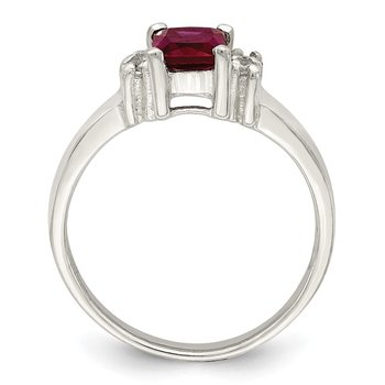 Sterling Silver Red & White CZ Ring