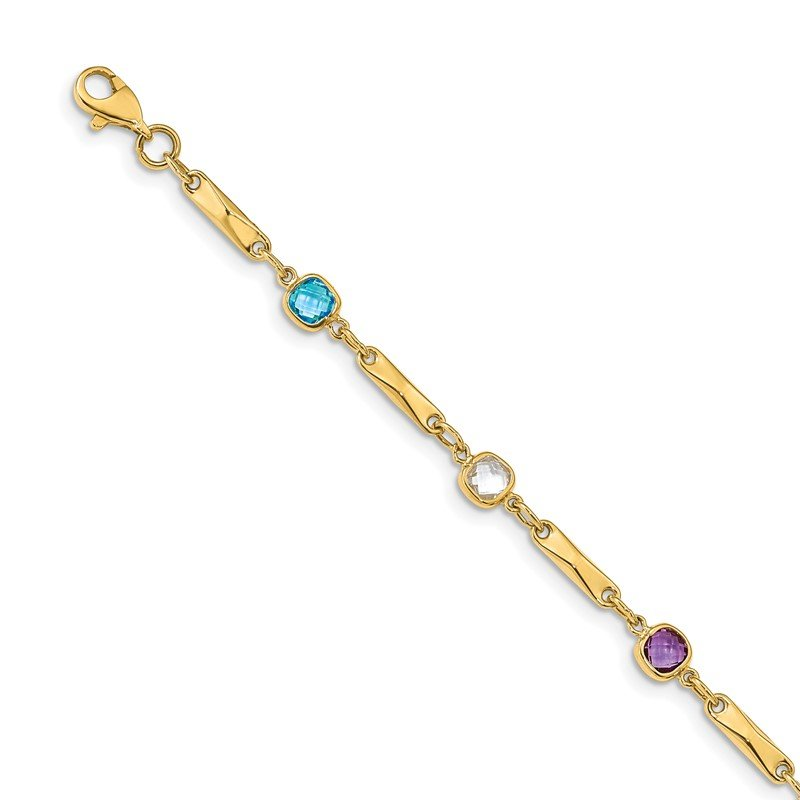 Quality Gold 14K Multi Gemstone Fancy Link Bracelet