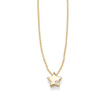 14K Gold .005ct Diamond Star Necklace