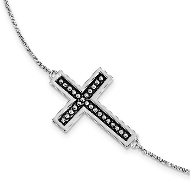 Quality Gold Sterling Silver Antiqued Carry Your Cross 7in. Bracelet w/ 1/2 in. ext