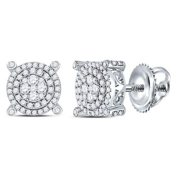 14kt White Gold Womens Round Diamond Circle Cluster Earrings 5/8 Cttw