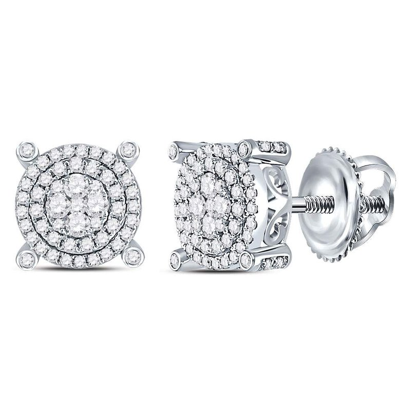 Kingdom Treasures 14kt White Gold Womens Round Diamond Circle Cluster Earrings 5/8 Cttw