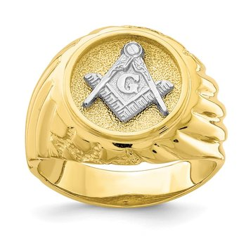 10K Two-Tone Masonic Mens Ring
