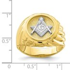 Quality Gold 10K Two-Tone Masonic Mens Ring