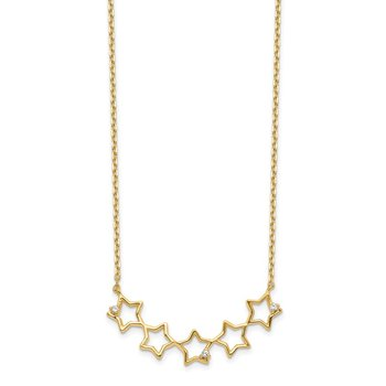 14K Stars CZ with 2IN EXT Necklace