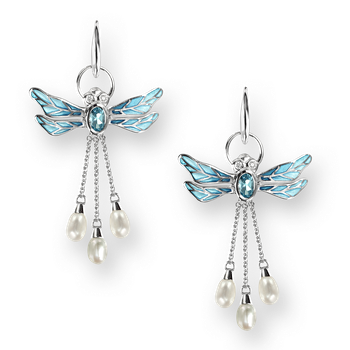 Sterling Silver Dragonfly Wire Earrings-Blue. Diamonds, Blue Topaz and Pearl.