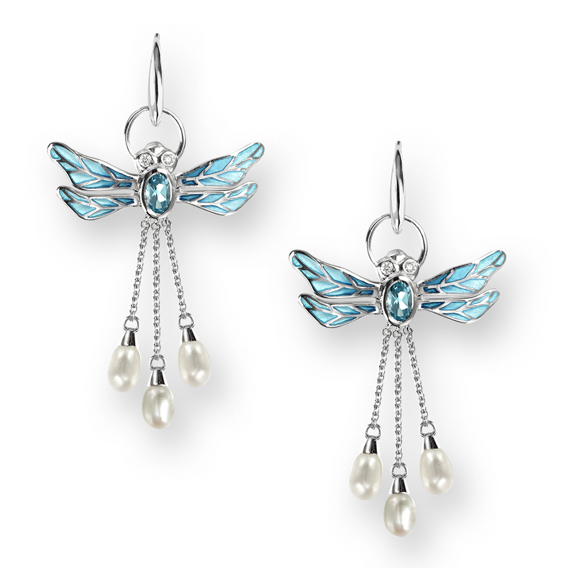 Nicole Barr Designs Sterling Silver Dragonfly Wire Earrings-Blue. Diamonds, Blue Topaz and Pearl.