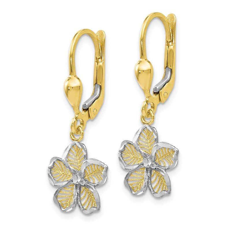 Leslie's Leslie's 10K Rhod-plated Polished D/C Filigree Flower Leverback Earrings