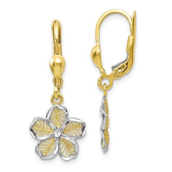 Leslie's 10K Rhod-plated Polished D/C Filigree Flower Leverback Earrings