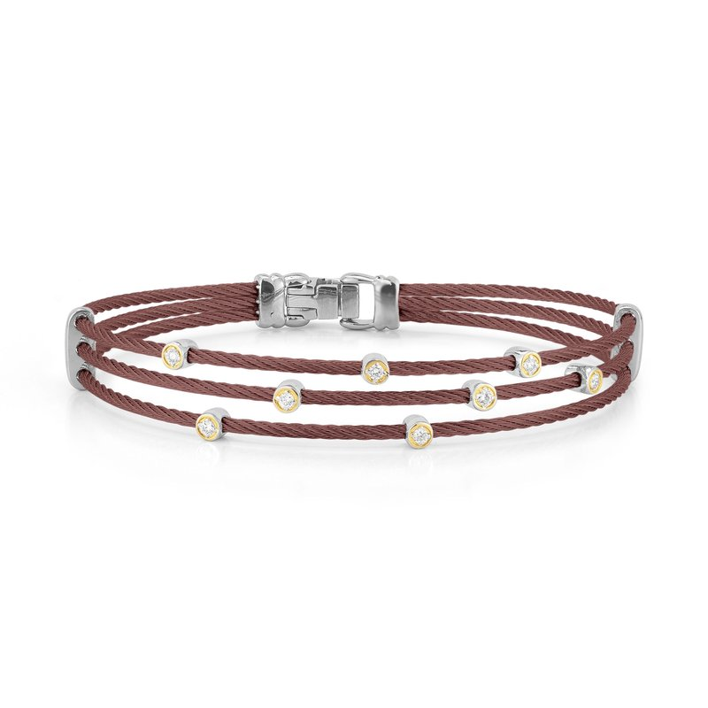 ALOR Burgundy Cable Triple Strand Bracelet with 18kt Yellow Gold & Diamonds