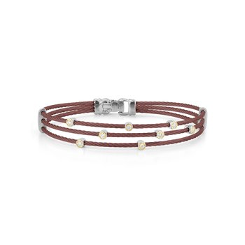 Burgundy Cable Triple Strand Bracelet with 18kt Yellow Gold & Diamonds