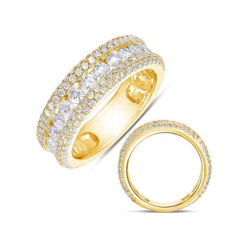 S. Kashi  & Sons Yellow Gold Pave Band