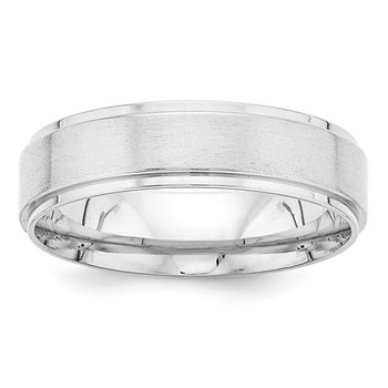 14k White Gold Light Comfort Fit Brush Satin Fancy Band