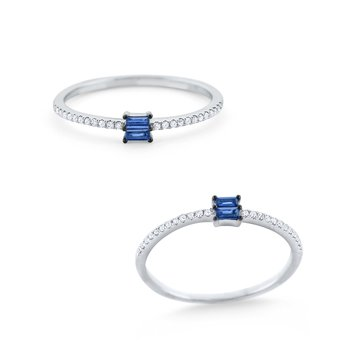 Sapphire & Diamond Mosaic Stack Ring Set in 14 Kt. Gold