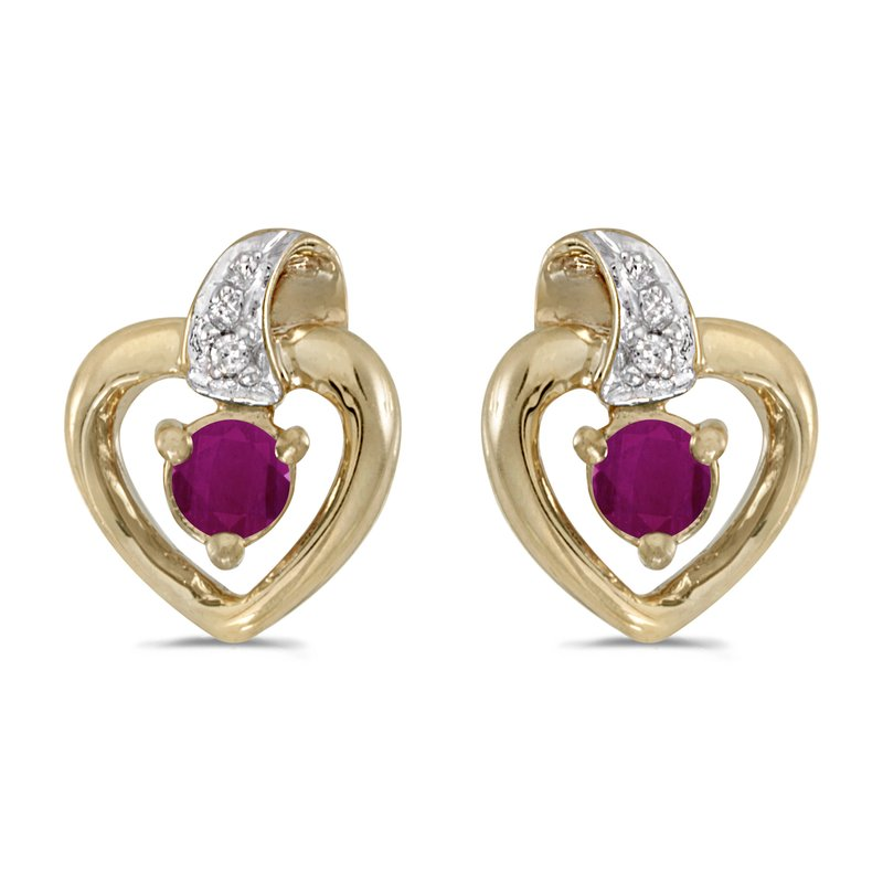 Color Merchants 10k Yellow Gold Round Ruby And Diamond Heart Earrings