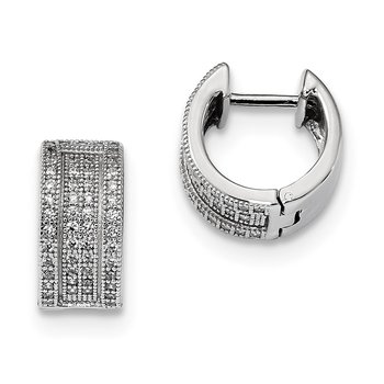 Sterling Silver Brilliant Embers Rhodium-plated CZ Hinged Hoop Earrings