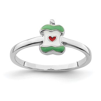 Sterling Silver Rhodium-plated Childs Enameled Apple Core Ring
