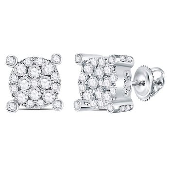 14kt White Gold Womens Round Diamond Corner Cluster Earrings 1/2 Cttw
