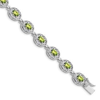 Sterling Silver Rhodium-plated Peridot Filigree Bracelet