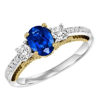 14K Diamond Engagement Ring 3/8 ctw ( Sapphire Center)