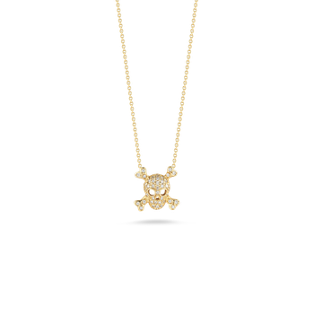 18Kt Gold Skull And Crossbones Pendant With Diamonds