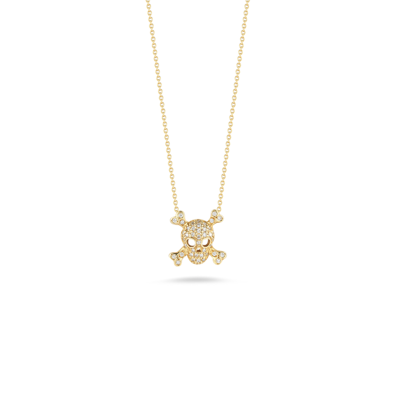 Roberto Coin 18Kt Gold Skull And Crossbones Pendant With Diamonds
