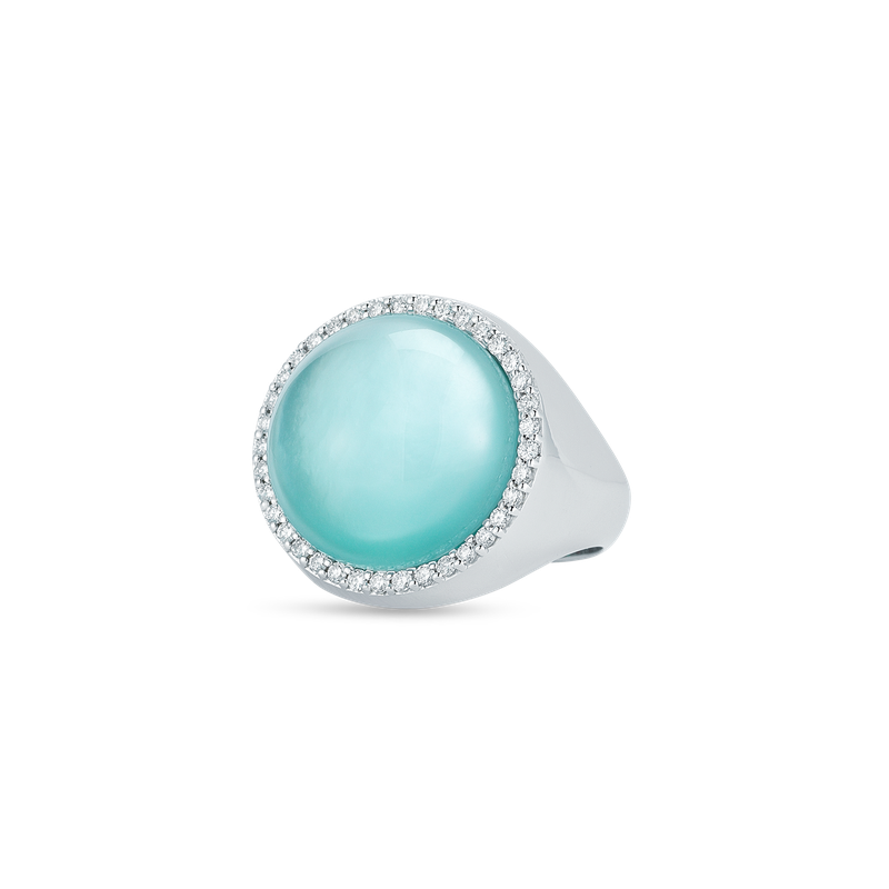 Roberto Coin Ring With Diamonds, Agate And Mother Of Pearl