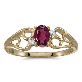10k Yellow Gold Oval Rhodolite Garnet And Diamond Ring