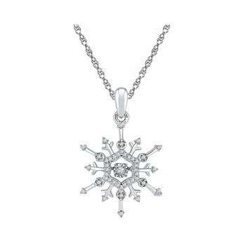 10kt White Gold Womens Round Diamond Snowflake Winter Cluster Pendant 1/6 Cttw