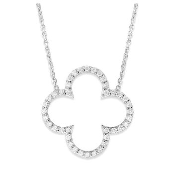 Diamond Open Clover Necklace in 14K White Gold with 40 Diamonds Weighing .35 ct tw