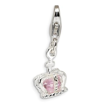 Sterling Silver Amore La Vita Rhodium-plated 3-D Pink CZ Crown Charm