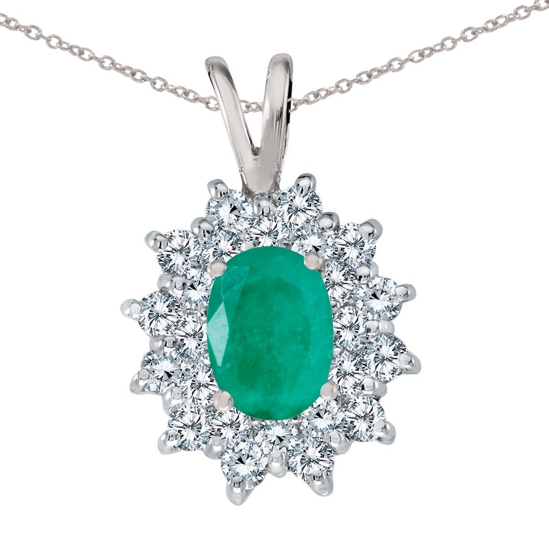 Color Merchants 14k White Gold Emerald Oval Pendant with Diamonds