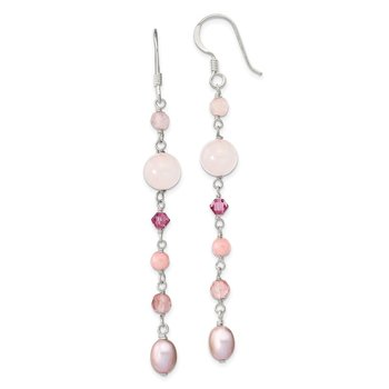SS Pink FWCPearl/Cherry,Rose Quartz/Pink Jade/Rosaline Dangle Earrings