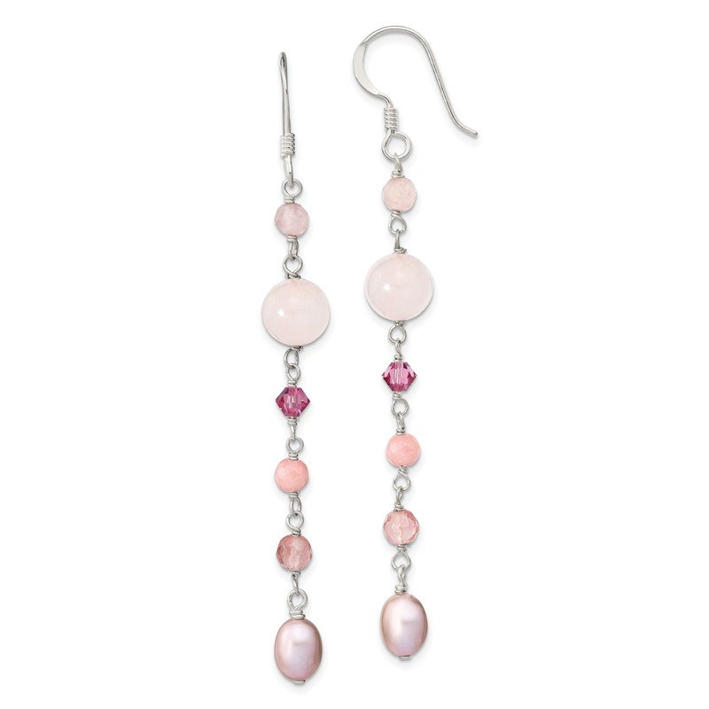Quality Gold SS Pink FWCPearl/Cherry,Rose Quartz/Pink Jade/Rosaline Dangle Earrings