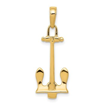 14K 3D Navy Anchor Pendant