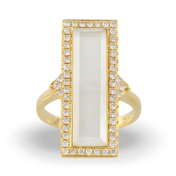 White Orchid Rectangle Halo Ring 18KY