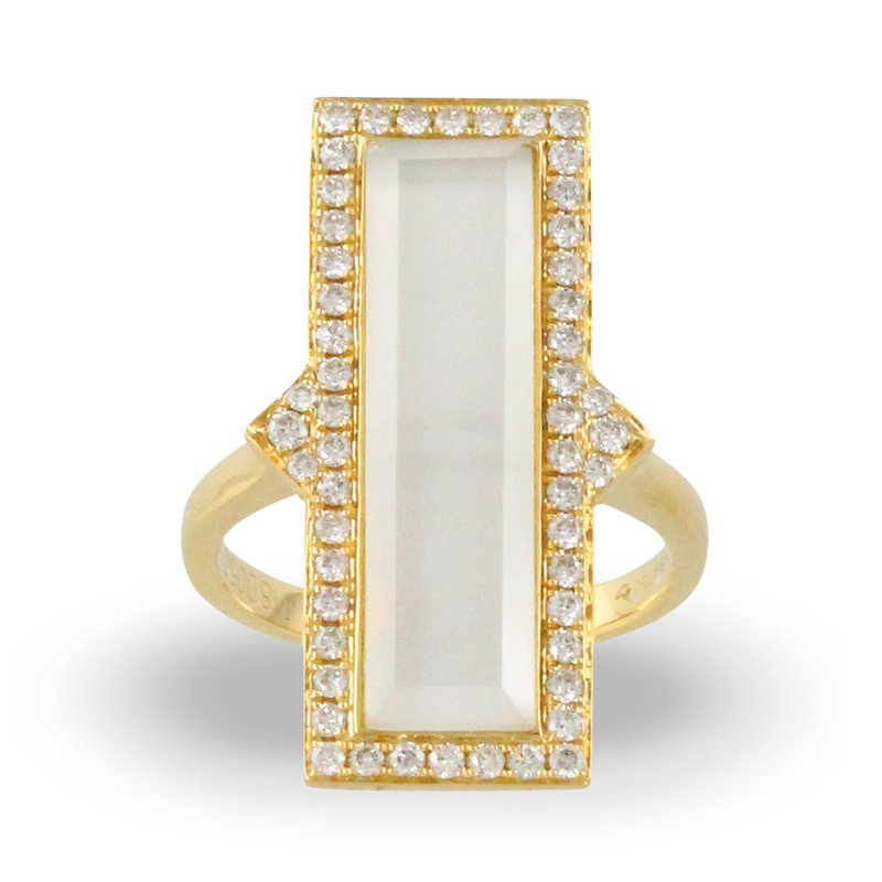 Doves White Orchid Rectangle Halo Ring 18KY