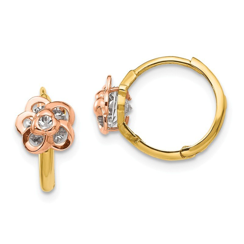 Quality Gold 14k Yellow & Rose Gold Madi K CZ Flower Hinged Hoop Earrings