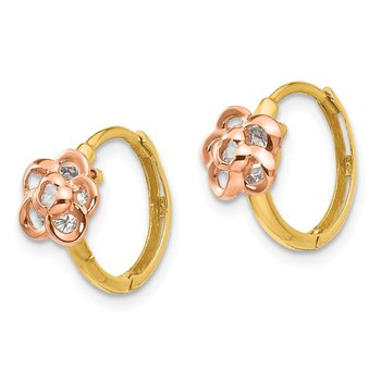 14k Yellow & Rose Gold Madi K CZ Flower Hinged Hoop Earrings